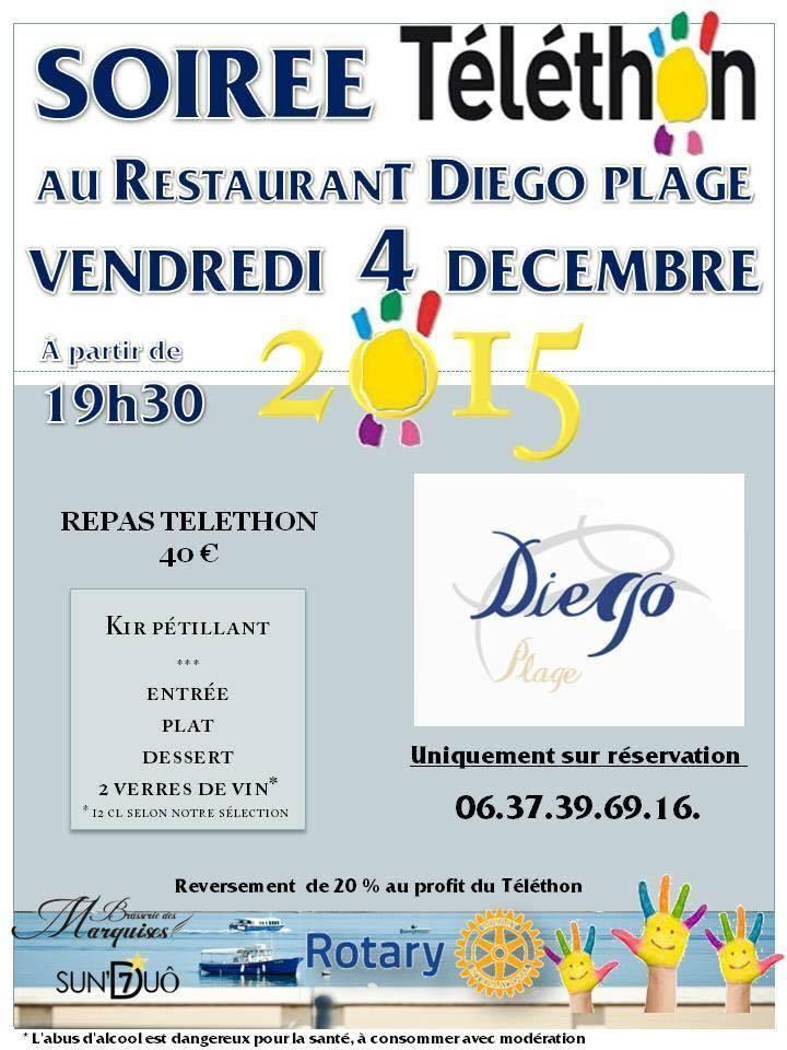 Soir e t l thon diego plage 4 d cembre restaurant for Soiree telethon